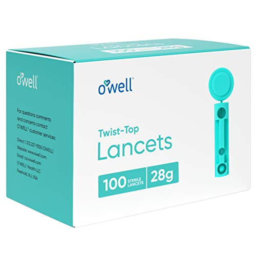 O'Well Twist Top Lancets 28 Gauge, 100 Count   Thick Needle Lancets for Blood Glucose & Keto Testing   Box of 100…