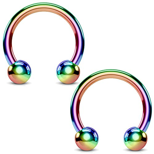 BodyJ4You 2PCS Horseshoe Circular Barbell Rainbow Steel 18G CBR 8mm Nipple Ear Lobe Body Piercing