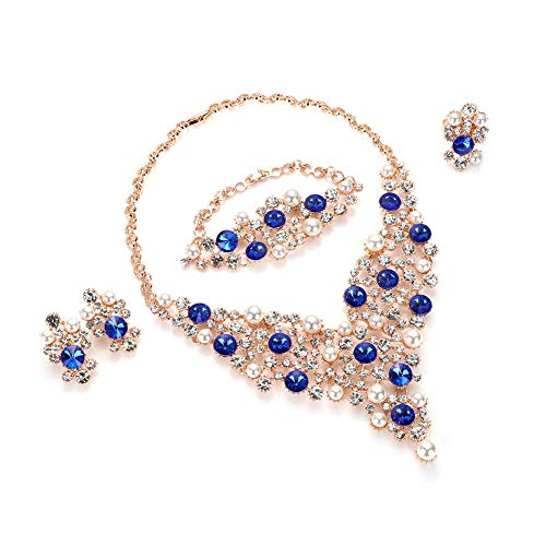 Everrich Luxurious Blue Crystal Bridal Cream Simulated Pearl Gold Plated Statement Necklace Earrings Jewelry Sets for Women Costume,4 Pairs