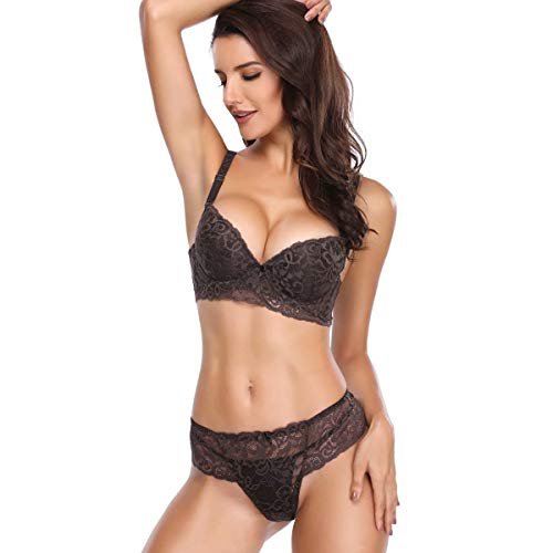 Women's Lace Bra Set Sexy Lingerie Bra and Panties Push Up Underwire Bra Coffee (Brown Lingerie)