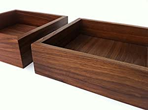 Amazon Com Modern Walnut Display Box Ottoman Tray Sized