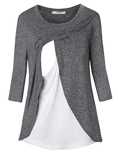 Viracy Maternity Tunic, Womens Easy Fitting Mom Breastfeeeding Shirts Nursing Tops with Discrete Access Nicely Elastic Double Layers Pregnant Outfits for Autumn Semi Formal Wear Grey XL