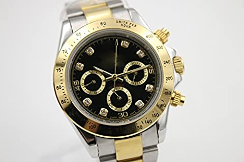 My_TimeZone Luxury Top Brand high quality japanese Automatic movement two tone color stainless steel high quality watch (Rolex Color)