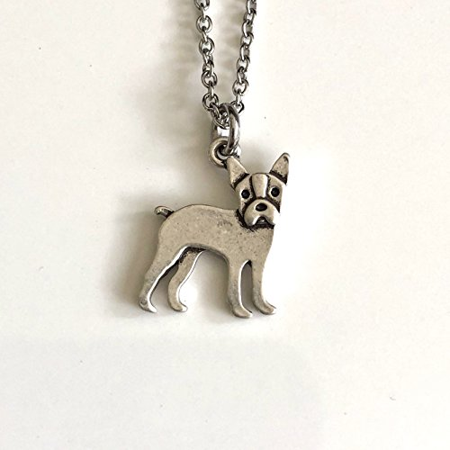 Boston Terrier Necklace on Stainless Steel Chain - Dog Breed Jewelry - Dog Mom Gift - Boston Terrier Rescue