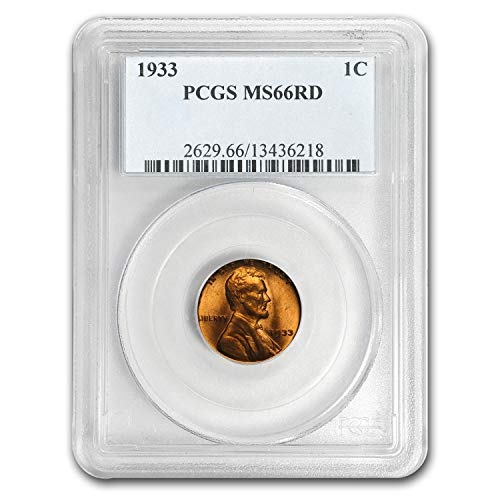 1933 Lincoln Cent MS-66 PCGS (Red) Copper MS-66 PCGS