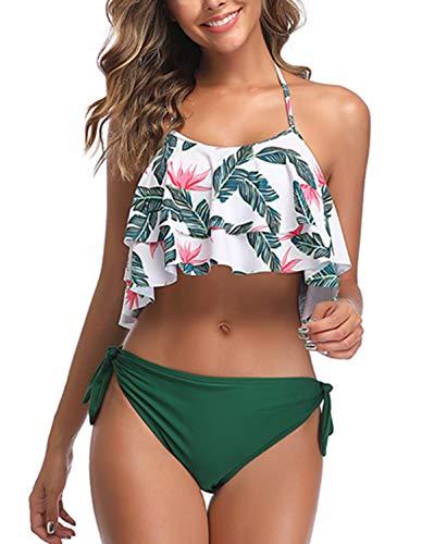 BeachQueen Women Two Piece Halter Flounce Bikini Set Cute Strappy Polka Dot Swimsuits (M(US 8-10), Green)