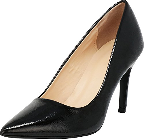 (Cambridge Select Women's Classic Closed Pointed Toe Stiletto High Heel Pump,8.5 B(M) US,Black Crinkle Patent)