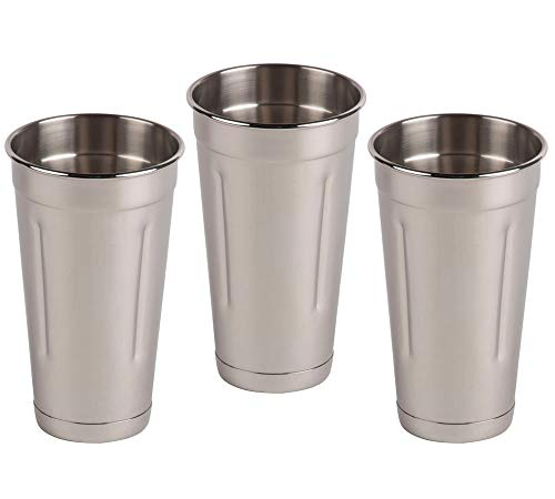 - (Set of 3) 30 oz Stainless Steel Malt Cup by Tezzorio, Professional Blender Cup, Milkshake Cup, Cocktail Mixing Cup, Commercial Grade Malt Cups