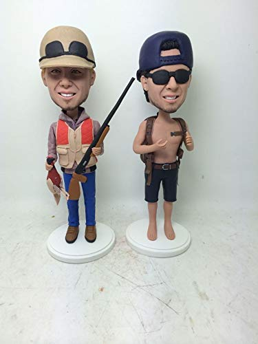 two people figure Hunter Fisher Custom Bobble Head Personalized Clay Figurine Based on Customer Photo Birthday Cake Topper Husband Boyfriend Son Birthday Gift (2 Custom Head Bobble)