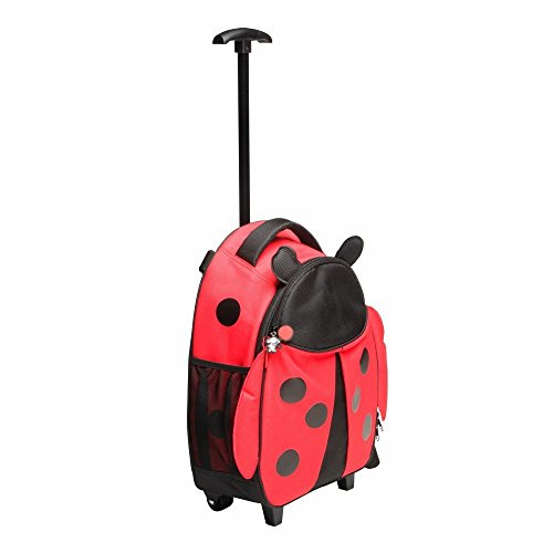Red Balloon Kids Travel Luggage, Hazel Ladybug – Parent Strap and Carry Handle – for School and Travel