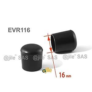 ajile - 12 piezas - Contera plástica redonda D: 16 mm - NEGRA - protector de suelo para patas de sillas - EVR116-M