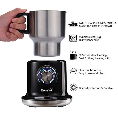 Revelux Milk Frother- 24oz Large Milk Frother Electric,Easy Clean Stainless Steel Jug, Cold and Hot Milk Frother, Dishwasher Safe, Automatic Milk Frother for Coffee, Cappuccino, Latte, Almond, Hot Chocolate, Matcha by Revelux (Image #1)