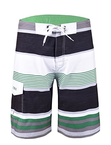 Nonwe Men's Tropical Stripe Beach Shorts Swim Trunks with Mesh Lining Green Striped with White (Guys Swim Trunks)