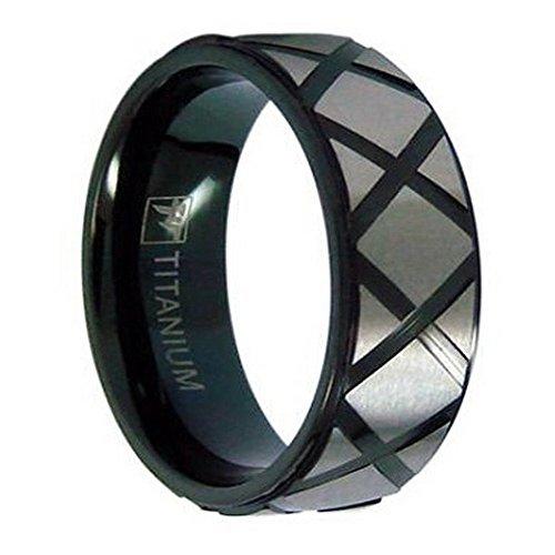Men's Black 7mm Titanium Ring with X-Patterned Brushed Titanium Size 12