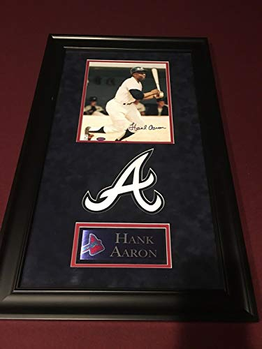 Hank Aaron Autographed Signed 8x10 Braves Mounted Memories Coa & Deluxe Framing - Authentic Memorabilia