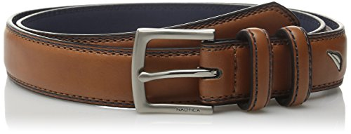 Nautica Men's Double Loop Belt with Stitch Detail,Tan,28 ()