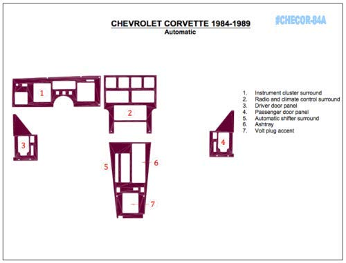 CHEVROLET CHEVY CORVETTE C-4 INTERIOR WOOD DASH TRIM KIT SET 1984 1985