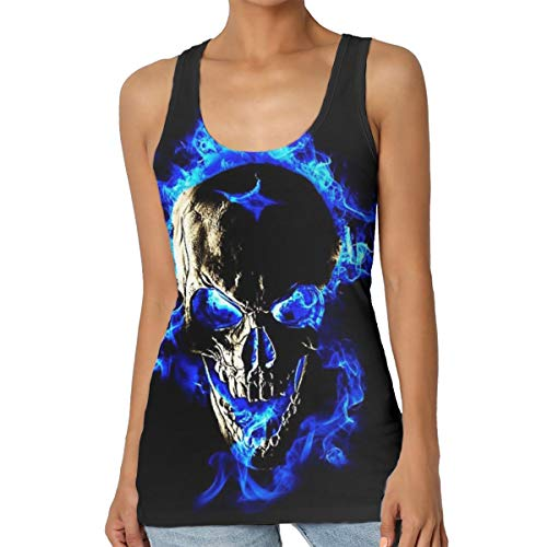 Womens Blue Flame Skull Fire 3D Printed Graphic Sleeveless Tank Top/Tops Gym Workout T-Shirt]()