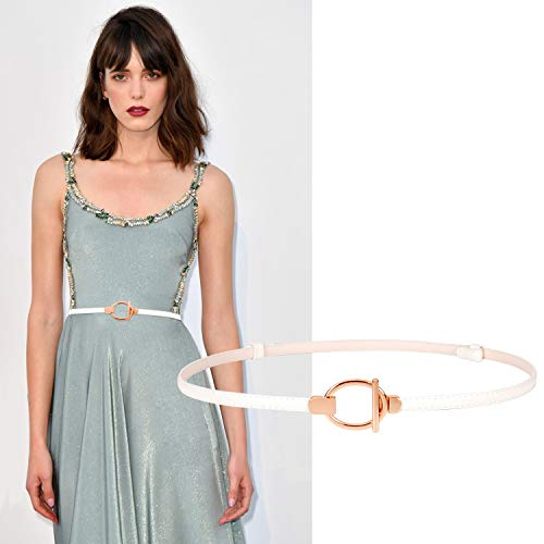 Womens Skinny Patent Leather Belt for Dress Thin Cinch Waist Belt for Women White - Patent Leather Wide Cinch