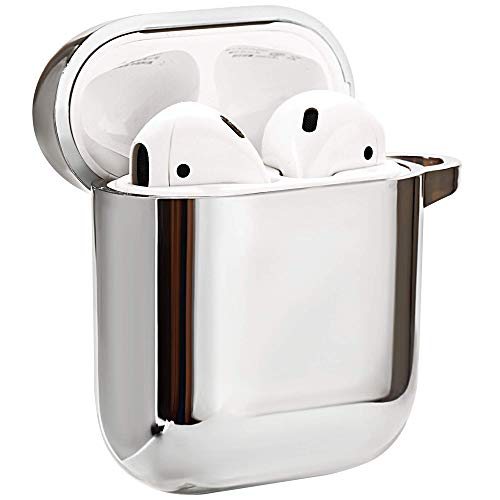 Airpods Case, Airpods Case Cover Compatible for Apple Airpods Case 2nd and 1st Genwith Keychain, Front LED Visible, Scratch Resistant, Shockproof, Soft TPU Plated Cover Protective, Silver