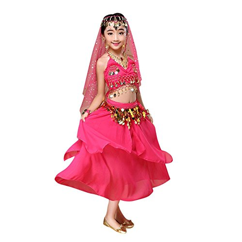 [Kids' Costume Foutou Girls Belly India Dance Outfit Clothes Top+Skirt (S, Hot Pink)] (Roller Girl Fancy Dress Costume)