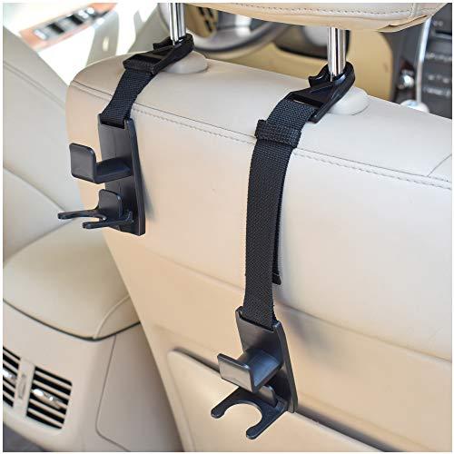 ALLTOOLS Car Back Seat Headrest Hanger Holder Hooks for Purse Grocery Bag Hat Cloth Coat - Heavy Duty Purse Car Hooks - Drop Stop Gadget - Best Car Accessories for Women, Mom