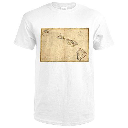 Lantern Press Hawaiian Islands - (1837) - Panoramic Map (Premium White T-Shirt - Map 1837
