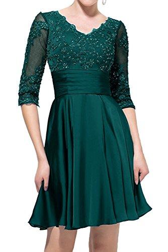 Damen Kleider V Lila Dunkel ausschnitt Brautjungfernkleider Spitze ...