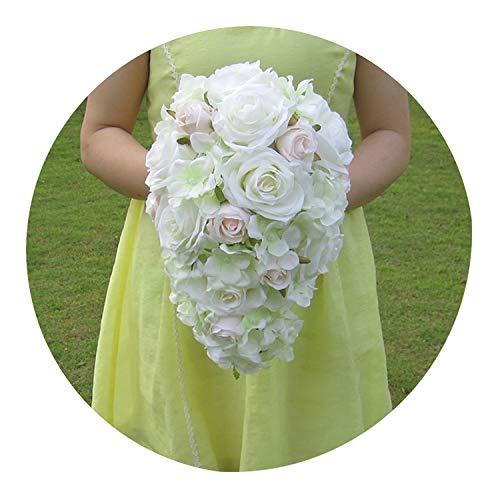 Teardrop Bridal Bouquet - Brief Decoration Cascading Bouquet Bride Teardrop Bouquets Beige Purple Artificial Rose Alternative Wedding Flower FE75,Beige