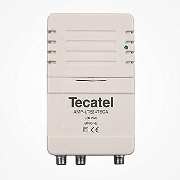 Tecatel - Amplificador de señal Interior para Antena de televisión de 2 Salidas, con Filtro LTE