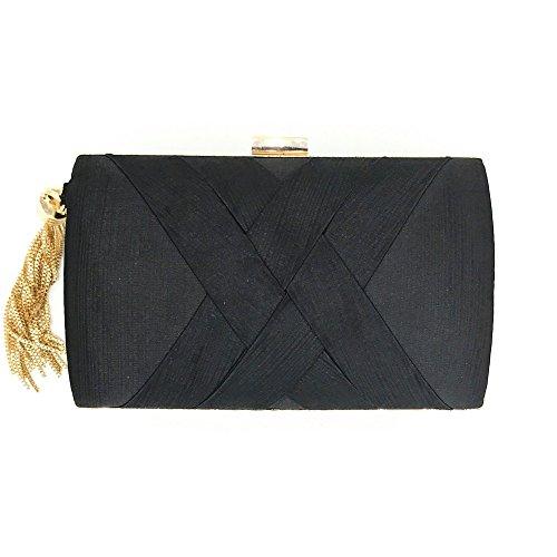 Bag H Fashion Evening Clutch Purse Simple Womens Bag Banquet Party Prom Bag Slay Handbag Bridal Black Satin EqSrwx4q81