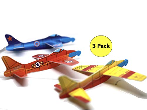 Mr. B's Flying Glider Plane - Distance Glider, 3 Designs, Easy Assembly, No Glue, Includes Simple Hand Launcher. Kids 3+