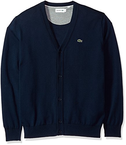 Lacoste Men's Long Sleeve Jersey Cardigan Sweater, Ah4564, Navy Blue/Cake/Flour White, 6 by Lacoste (Image #1)