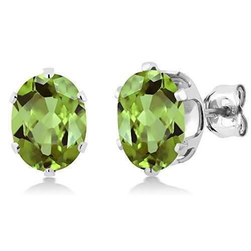 Gem Stone King 2.60 Ct Green Peridot 925 Sterling Silver Stud Earrings ()