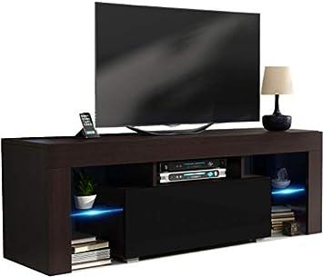 Mueble TV 130 cm Cuerpo Color wengué Mate y Puerta Negro Lacado con LED RGB: Amazon.es: Electrónica