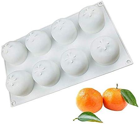 8 Cavity 3D Orange Silicone Cake Mold Baking Mold Cupcake Mousse DIY Tool Mould