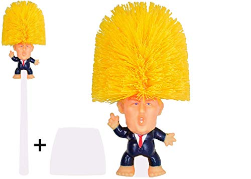 Famous Toilet Donald Trump Toilet Brush Bowl with Holder, Trumps Funny Political Gag Gifts for Your Friends, Make Your Toilet Great Again, The Presidential Novelty Gift. (Trump Brush + Base)
