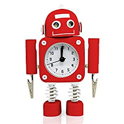 Betus [Non-ticking] Robot Alarm Clock Stainless Metal - Wake-up Clock with Flashing Eye Lights and Hand Clip - 4.5 x 6.5 x 2 (Ruby Red)
