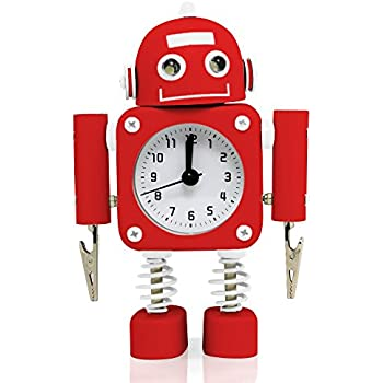 """Betus [Non-ticking] Robot Alarm Clock Stainless Metal - Wake-up Clock with Flashing Eye Lights and Hand Clip - 4.5"""" x 6.5"""" x 2"""" (Ruby Red)"""