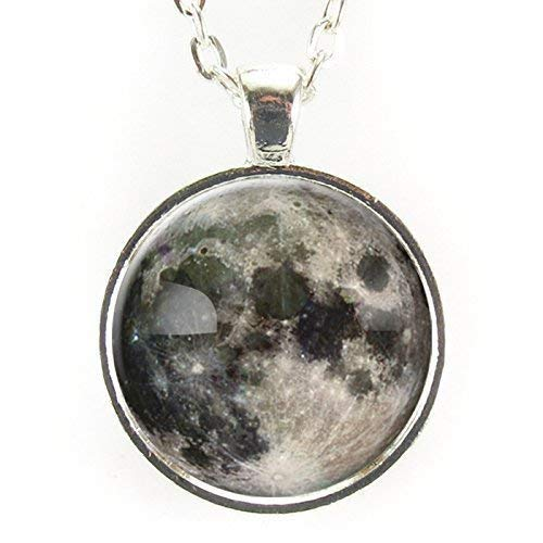 Silver Plated Full Moon Necklace Pendant
