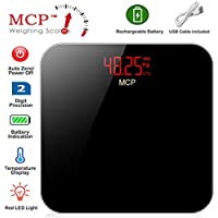 MCP Digital Rechargeable Human Body Weighing Scale Machine with USB Port and Battery and Temperature Indicator