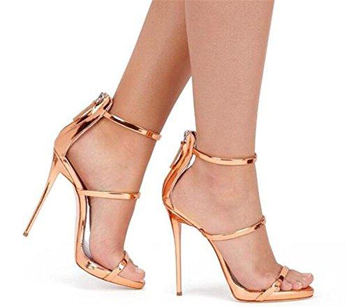 Pelle cinghie Roma Caviglia spillo sandali 44 a 35 Da Club Tacco Scarpe Vestito GAOGENX EU38 da a donna Festa XxtHSY