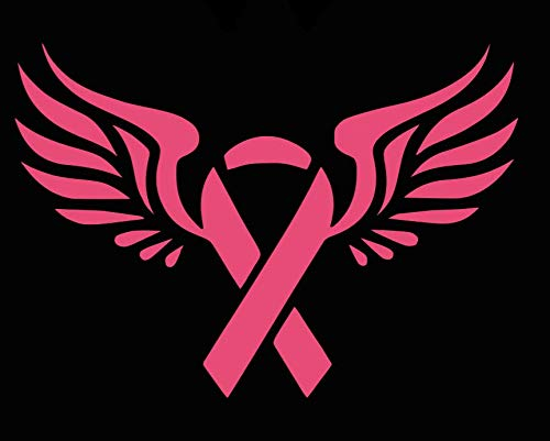 (Breast Cancer with Angel Wings Vinyl Sticker Decal | 5.5