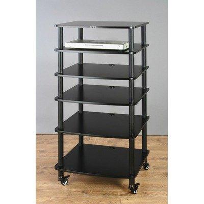 VTI AR406 6 Shelf Black Audio Rack - Silver/Cherry