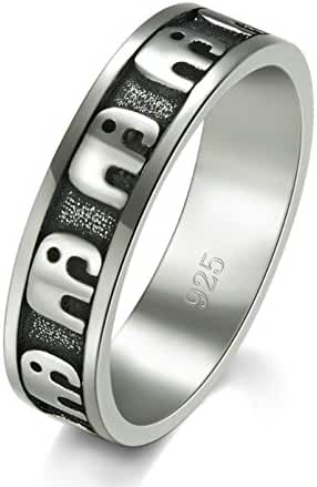 925 Sterling Silver Ring, BoRUo Elephant Family Migration Comfort Fit Plain Stackable Band Ring Size 4-12