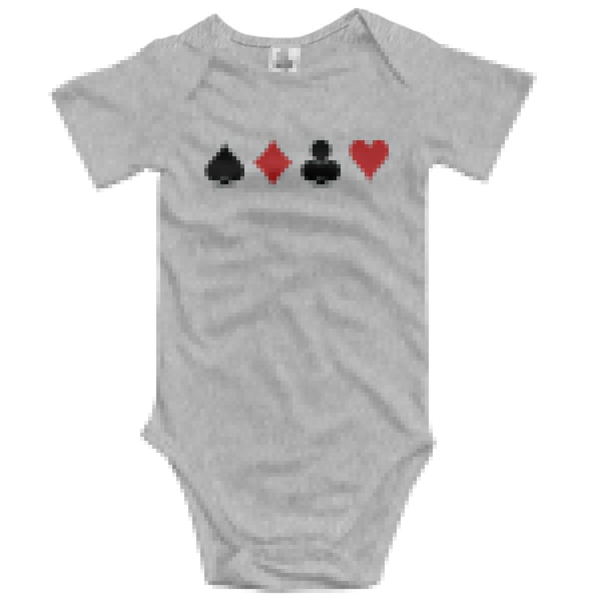 VANMASS Toddler Spades Poker Short Sleeve Climbing Bodysuits Baby Playsuit