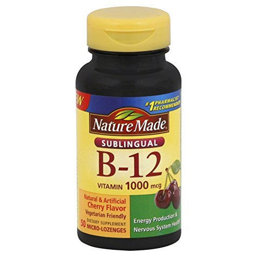 Nature Made Vitamin B-12 1000 MCG Sublingual, Cherry Flavor 50 Count (4 Pack)