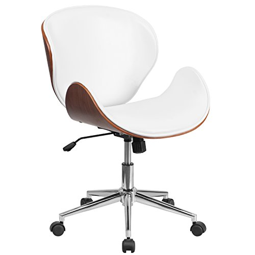 Flash Furniture Mid Back Natural Wood Swivel Conference Chair in Leather, White