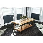 "Niangua Furniture Live Edge Rustic Coffee Table - Hickory Wood - Metal Copper Pipe Legs - 48"" x 23"""