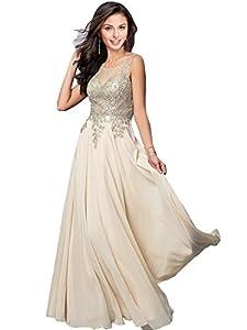 Kivary Gold Lace A Line Long Chiffon Women Formal Corset Prom Evening Dresses